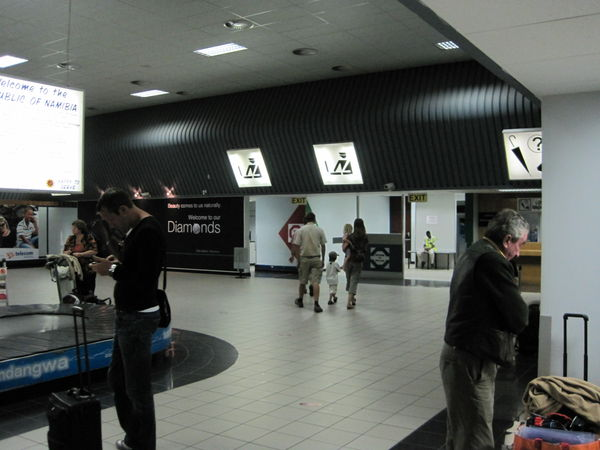 From the baggage claim area you will exit through the Customs and Excise passage area where you will be met by someone from Westfalen Hunting Safaris holding a sign in the arrival hall of the airport waiting to pick you up.