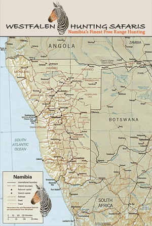 Detailed map of Namibia