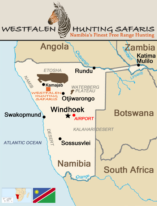 Map of Namibia showing the location of Westfalen Hunting Safaris